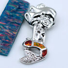 Fire Opal & Zircon Women Fashion Jewelry Gems Silver Pendant P307