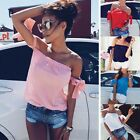 Fashion Summer Women Casual Loose Blouse Off Shoulder Crop Tops T-Shirt Halter
