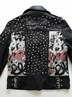 Zara Genuine Lambskin Leather Studded Graffiti Paint Animal Print Biker Jacket S