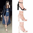 LADIES WOMENS BLOCK HEEL ANKLE STRAP SANDALS PEEP TOE STRAPPY PARTY SHOES 3-8