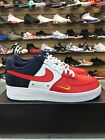 Nike Mens Air Force 1 07 LV8 Red Navy Gold Mini Swoosh 823511 601 Authentic