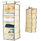 6 SECTION SHELVES HANGING WARDROBE SHOE GARMENT ORGANISER STORAGE CLOTHES TIDY