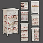 Shabby Chic Wicker Basket Cabinet Storage Unit Chest Of Drawer Bedroom Furniture
