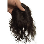 Women loose Curly  Mono Lace Clip in hairpiece 100% Human Hair Topper Toupee