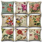 Vintage Flower Cotton Linen Throw Pillow Case Cushion Cover Home Decor 18x18'' image