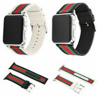 Sport Nylon Stripe & Leather Wrist Band Strap Bracelet For Apple Watch 38mm 42mm