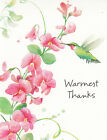 Thank You  Note Cards Floral Humming Bird Greeting Card White Envelope