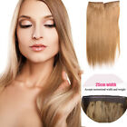 Straight Halo Wire Hidden Hairpiece Flip Human Hair Extensions NO Clip In 100G