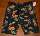 Men's Carbon Black Floral Tropical Palm Classic Length Shorts & Belt Size 26