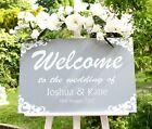 Wedding welcome sign large 60 x 40 cm STUNNING Personalised Wooden Dove grey