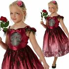 Girls Kids Rags Roses Day of the Dead Halloween Gothic Bride Fancy Dress Costume