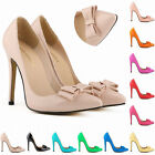 Women's Ladies High Heels Pointy Toes Stiletto Shoes Pumps Bowknot Single Shoes