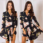 Ladies Women Flower Printing Dresses Long Sleeve Lace up Casual Party Mini Dress