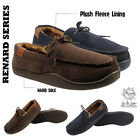 MENS MOCCASINS SLIPPERS LOAFERS FUR LINED WINTER WARM SHOES SIZE 7 8 9 10 11 12