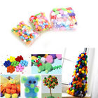 100 Mixed FLUFFY Felt Pom poms Ball Assorted Colors Craft DIY snow balls WKAU