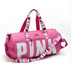 Victoria's Secret PINK Double Strap Duffle Gym Bag With Logo Black, Grey, Pink