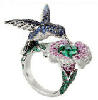 6.5CT Green&Blue&Pink Sapphire 925 Silver Man Wedding Engagement Ring Size 6-10
