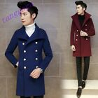 Mens British Casual Double-Breasted Fashion Stylish Woolen Trench Coat Jacket