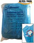 10 PC Isolation Gowns Knit Cuff Dental Lab Disposable Latex Free Fluid Resistant