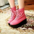 Hot Womens Platform Heel Lace Up  High Wedge Punk Creepers Fashion  Ankle Boots