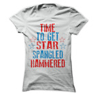 Time To Get Star Spangled Hammered Funny America Drinking Women's Shirt H66