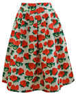 Strawberry Print Pleated Knee Length Zip Fastening Party Skirt Casual Skirt.
