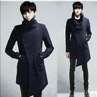 Chic Mens korean wool coat high collar button winter warm punk jacket outwear