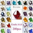 Lot 200Pcs Crystal Czech Glass Bicone Loose Spacer Beads Jewelry Making 4mm