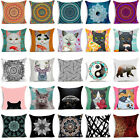 Cat & Mandala Polyester Decorative Pillow Case Sofa Cushion Cover Home Decor