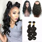 Pre Plucked 360 Lace Front Closure + 2 Bundles Brazilian Virgin Hair Body Wave