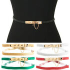 Women Fashion Gold Metal Pin Skinny Thin PU Leather Elastic STRETCH Waist BELT