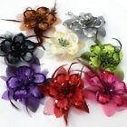 Sequins Feather Flowers Hair Clip Brooch Pin Bridal Party Wedding Belly Dancer