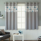 """Geometric Accented Blackout Curtains Eyelet Grommet 102""""W X 67""""H Pair Gray Blue"""