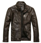 new mens real leather stand collar motorcycle jacket punk fur lining coat trench