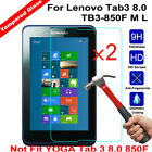 2Pcs Tempered Glass Screen Protector Protective for Lenovo Tab3 8.0 TB3-850F M L