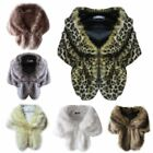 US Women's Faux Fur Plush Wedding Wraps Long Shawl Bridal Coat Cape Shrug Scarf
