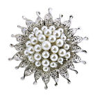Silver Brooch Pin Pearl Flower Jewelry Decoration Rhinestones Wedding Party Gift