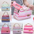 Women Thermal Insulated Portable Canvas Stripe Lunch Tote Carry Case Picnic Bag