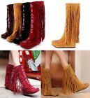 Women's Embroidery Fringe Tassels Mid Calf Knee High Boots Hidden Wedge Moccasin