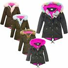 GIRLS FUR COLLAR JACKET KIDS RAINBOW PLAIN FUR PARKA SCHOOL JACKETS COAT 5-13 YR