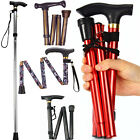Adjustable Folding Metal Folding Cane Travel Use Folding Walking Hiking Stick