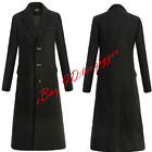 Men Single Breasted Wool Blend Long Trench Coat Jacket Parka Military British 17