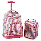 School Bag With Wheels Kids Girls Wheeled Backpack With Lunch Bag Fashion Pink