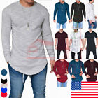 Fashion Men's Slim Fit R Neck Long Sleeve Muscle Tee T-shirt Casual Tops Blouse