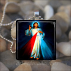 """DIVINE MERCY"" JESUS CHRIST RELIGIOUS GLASS TILE PENDANT NECKLACE KEYCHAIN"