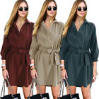 Womens Long Sleeve Shirt Dress Casual Party Evening Cocktail Short Mini Dress