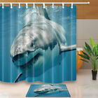 3D Great White Shark Shower Curtain Bathroom Waterproof Fabric & 12Hooks 71*71in