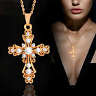 Vintage Hollow Baroque Pearl Cross Pendant Necklace For Women Chic Jewelry