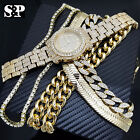 "Hip Hop Quavo Style Iced Out Watch & Various Choker & 24"" Cuban Chain Combo Set image"