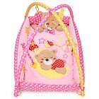 Soft Cute Baby Play Mat Bear Folding Gym Blanket with Frame Rattle Crawling Toy